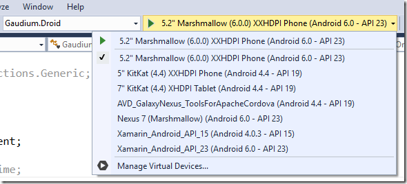 New Android Emulator for Xamarin Development in Visual Studio 2015